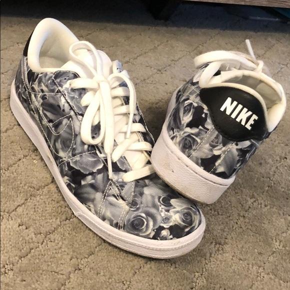 Black And White Rose Print Nikes | Poshmark